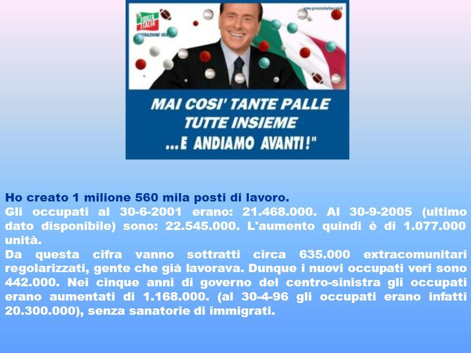 Ho creato 1 milione 560 mila posti di lavoro. Gli occupati al 30-6-2001 erano: 21.468.000.