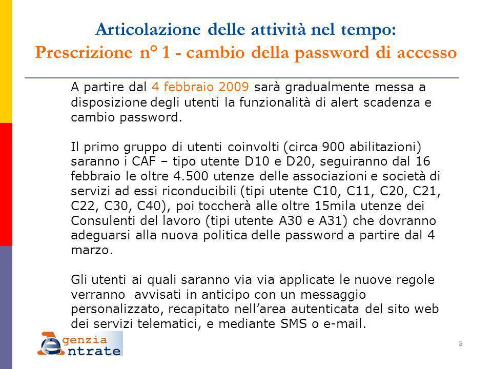 5 A partire dal 4 febbraio 2009 sarà gradualmente messa a disposizione degli utenti la funzionalità di alert scadenza e cambio password.