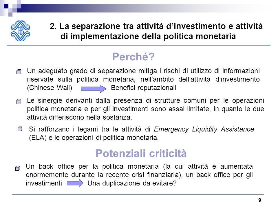 9 2. La separazione tra attività dinvestimento e attività di implementazione della politica monetaria Un adeguato grado di separazione mitiga i rischi