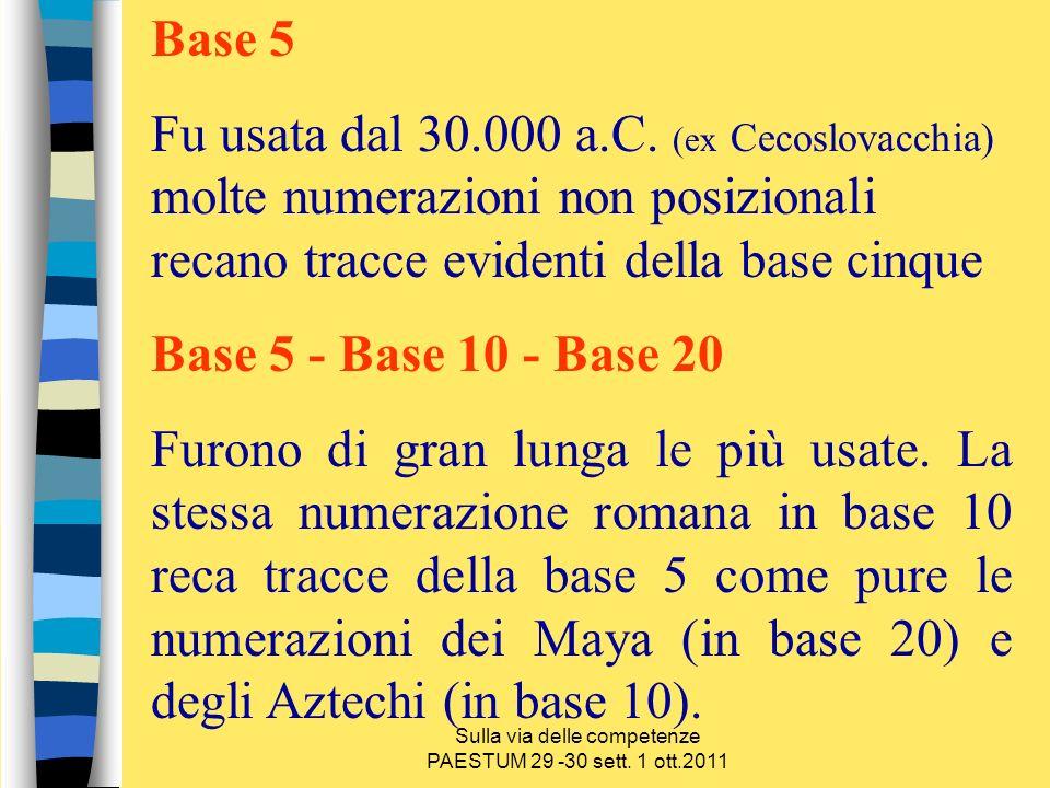 Sulla via delle competenze PAESTUM 29 -30 sett. 1 ott.2011 Base 5 Fu usata dal 30.000 a.C. (ex Cecoslovacchia) molte numerazioni non posizionali recan