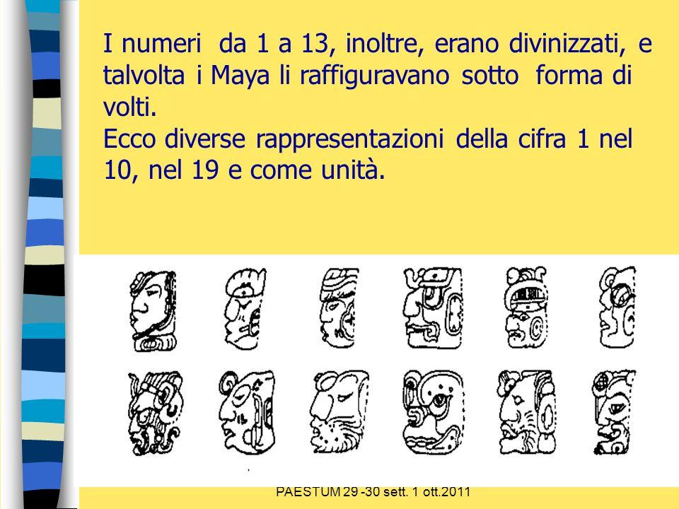Sulla via delle competenze PAESTUM 29 -30 sett. 1 ott.2011 I numeri da 1 a 13, inoltre, erano divinizzati, e talvolta i Maya li raffiguravano sotto fo