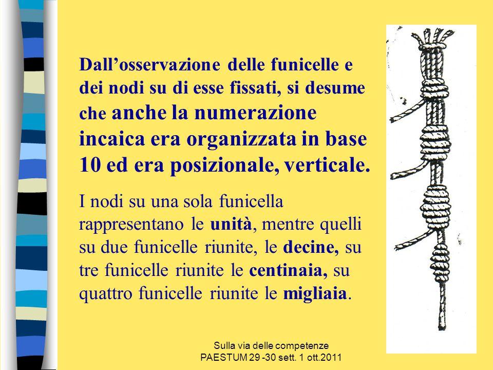 Dallosservazione delle funicelle e dei nodi su di esse fissati, si desume che anche la numerazione incaica era organizzata in base 10 ed era posiziona