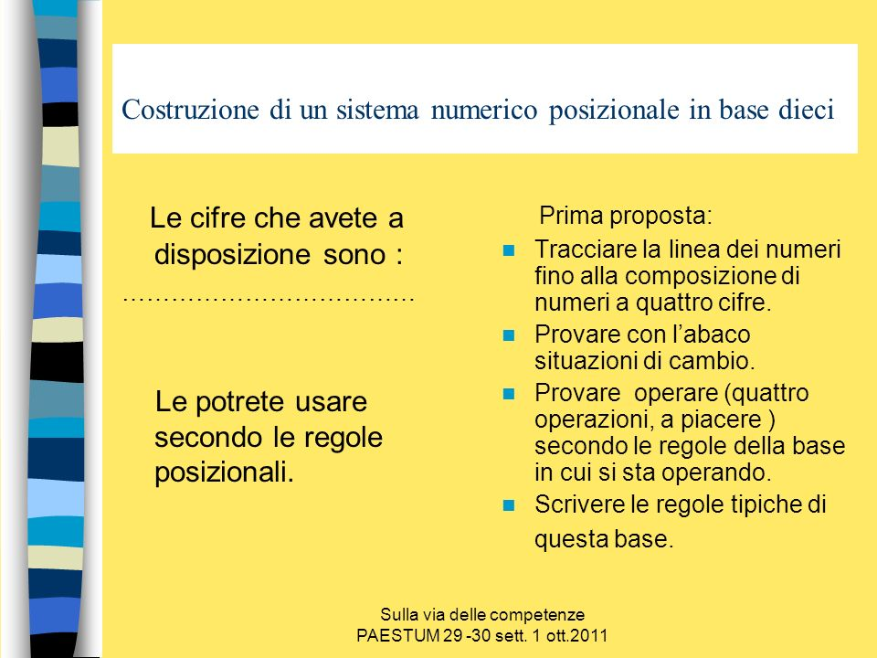 Sulla via delle competenze PAESTUM 29 -30 sett. 1 ott.2011 Costruzione di un sistema numerico posizionale in base dieci Le cifre che avete a disposizi
