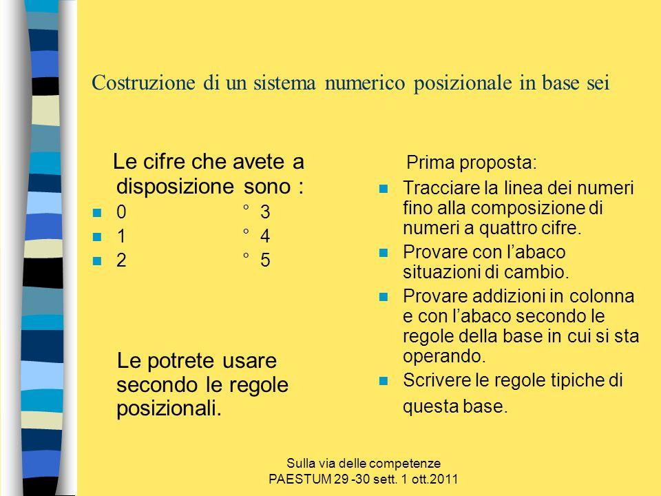 Sulla via delle competenze PAESTUM 29 -30 sett. 1 ott.2011 Costruzione di un sistema numerico posizionale in base sei Le cifre che avete a disposizion