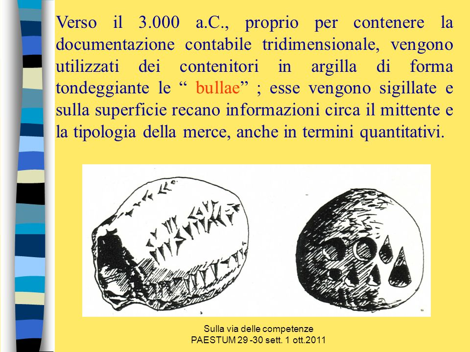 Sulla via delle competenze PAESTUM 29 -30 sett. 1 ott.2011 Verso il 3.000 a.C., proprio per contenere la documentazione contabile tridimensionale, ven
