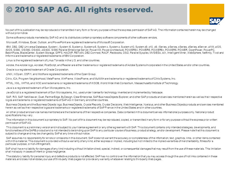 © 2010 SAP AG.All rights reserved.
