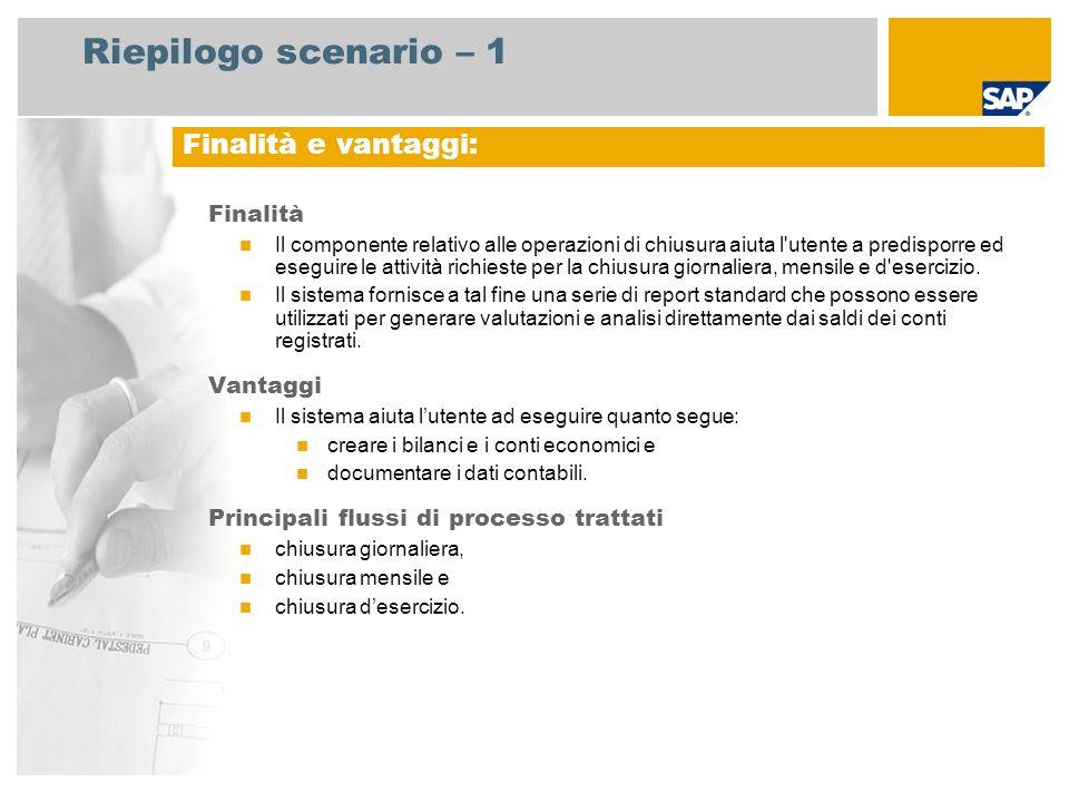 Riepilogo scenario – 1 Finalità Il componente relativo alle operazioni di chiusura aiuta l utente a predisporre ed eseguire le attività richieste per la chiusura giornaliera, mensile e d esercizio.
