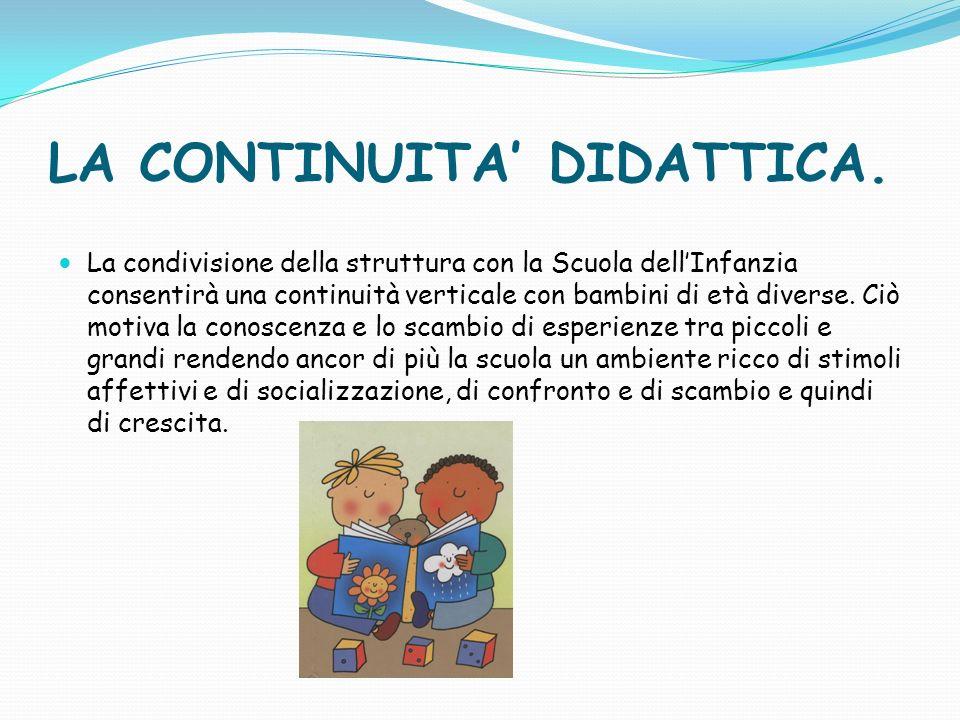LA CONTINUITA DIDATTICA. La condivisione della struttura con la Scuola dellInfanzia consentirà una continuità verticale con bambini di età diverse. Ci