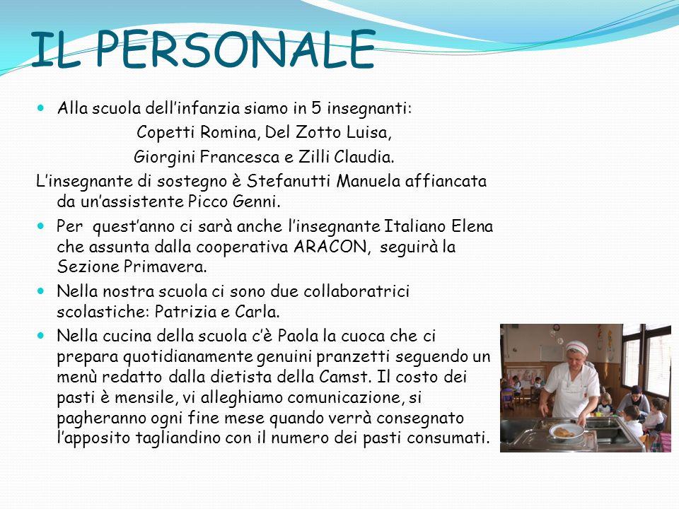 IL PERSONALE Alla scuola dellinfanzia siamo in 5 insegnanti: Copetti Romina, Del Zotto Luisa, Giorgini Francesca e Zilli Claudia. Linsegnante di soste