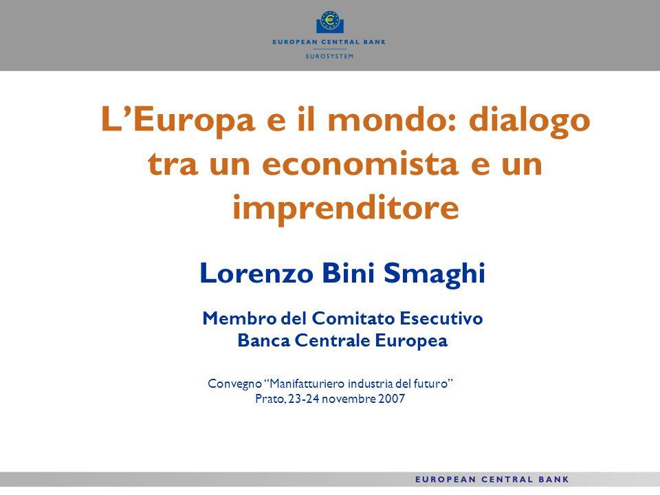 LEuropa e il mondo: dialogo tra un economista e un imprenditore Lorenzo Bini Smaghi Membro del Comitato Esecutivo Banca Centrale Europea Convegno Mani