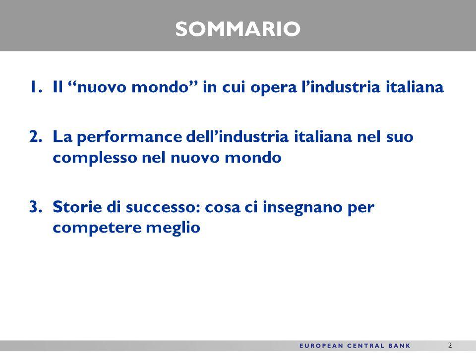 2 SOMMARIO 1.Il nuovo mondo in cui opera lindustria italiana 2.La performance dellindustria italiana nel suo complesso nel nuovo mondo 3.Storie di successo: cosa ci insegnano per competere meglio