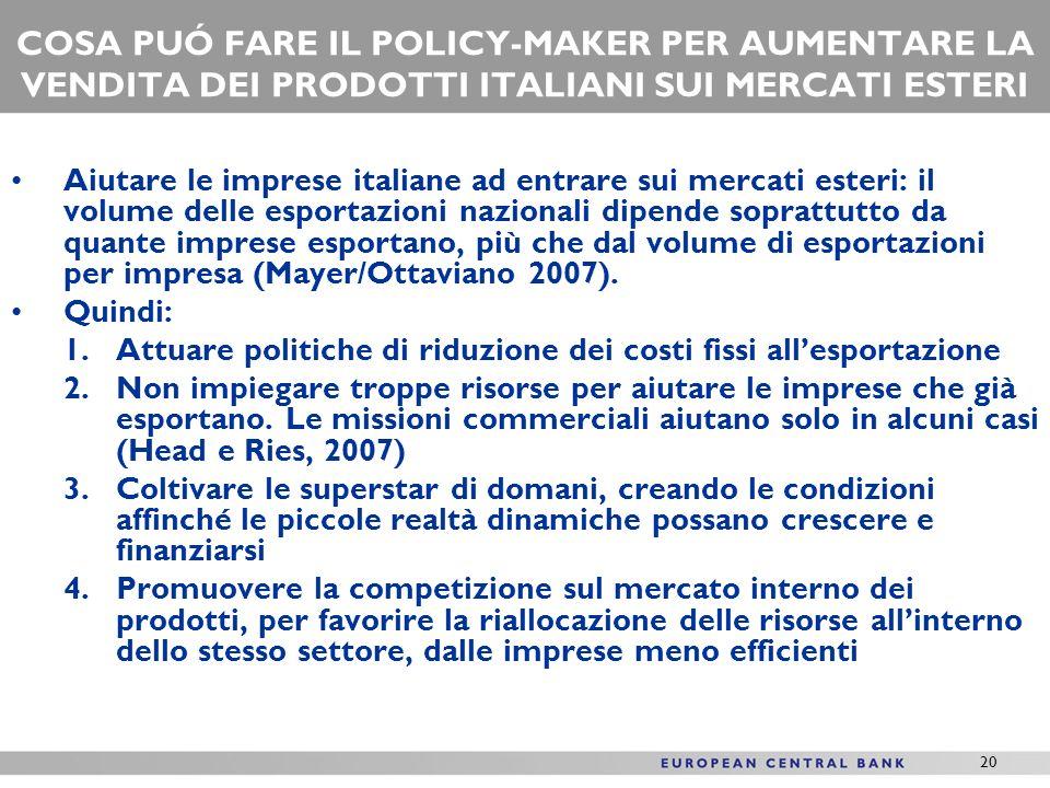 20 COSA PUÓ FARE IL POLICY-MAKER PER AUMENTARE LA VENDITA DEI PRODOTTI ITALIANI SUI MERCATI ESTERI Aiutare le imprese italiane ad entrare sui mercati esteri: il volume delle esportazioni nazionali dipende soprattutto da quante imprese esportano, più che dal volume di esportazioni per impresa (Mayer/Ottaviano 2007).