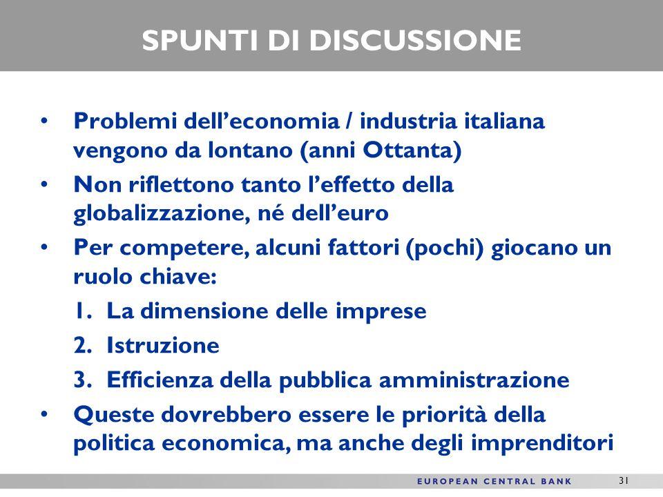 31 SPUNTI DI DISCUSSIONE Problemi delleconomia / industria italiana vengono da lontano (anni Ottanta) Non riflettono tanto leffetto della globalizzazi