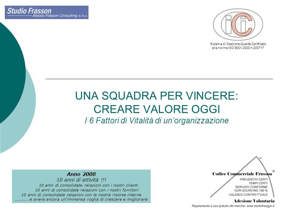 1 UNA SQUADRA PER VINCERE: CREARE VALORE OGGI I 6 Fattori di Vitalità di unorganizzazione Anno 2008 10 anni di attività !!! 10 anni di consolidate rel