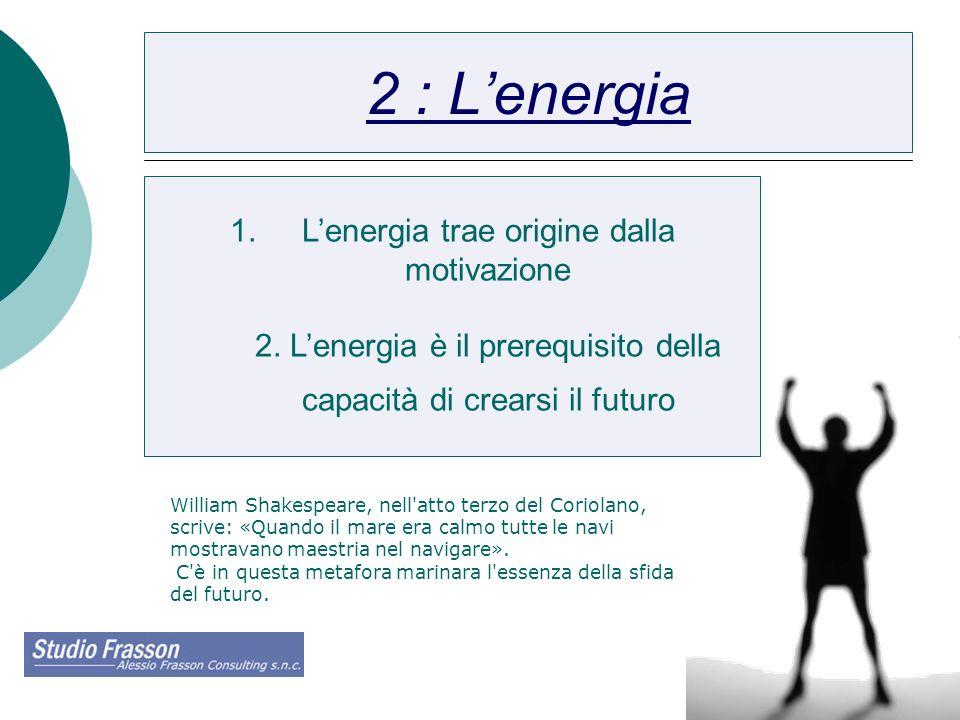 10 2 : Lenergia 1.Lenergia trae origine dalla motivazione 2. Lenergia è il prerequisito della capacità di crearsi il futuro William Shakespeare, nell'