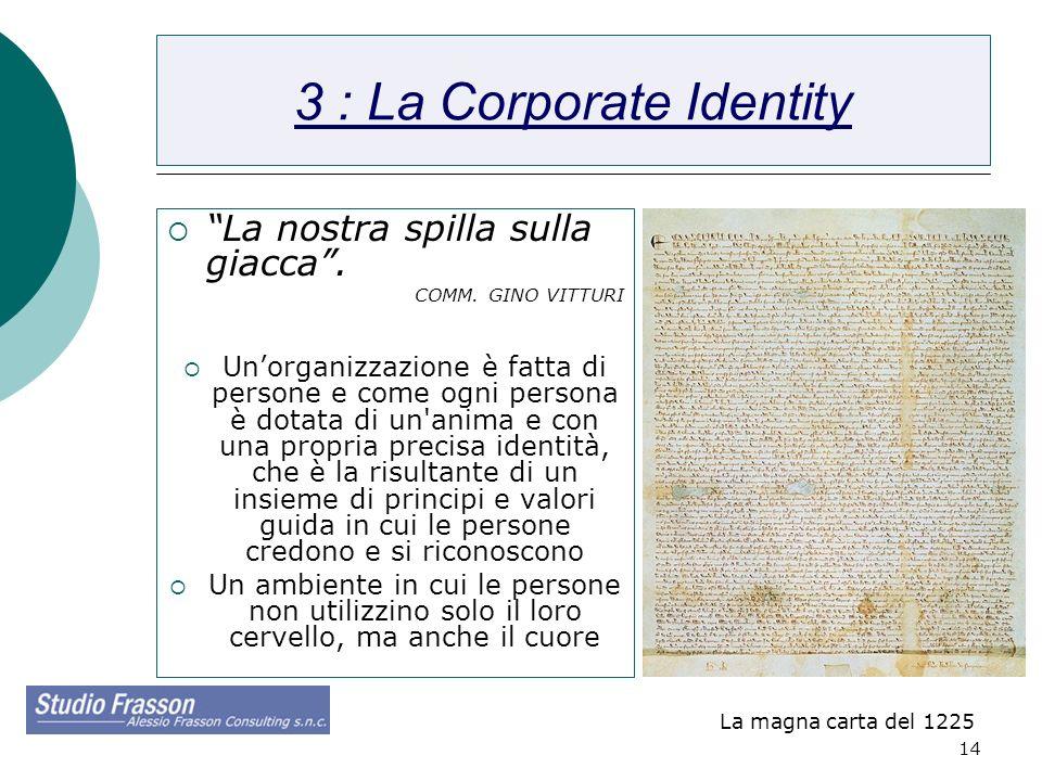 14 3 : La Corporate Identity La nostra spilla sulla giacca. COMM. GINO VITTURI Unorganizzazione è fatta di persone e come ogni persona è dotata di un'
