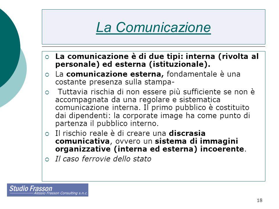 18 La Comunicazione La comunicazione è di due tipi: interna (rivolta al personale) ed esterna (istituzionale). La comunicazione esterna, fondamentale