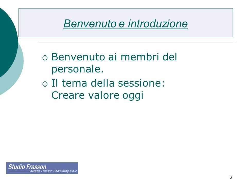 2 Benvenuto e introduzione Benvenuto ai membri del personale. Il tema della sessione: Creare valore oggi