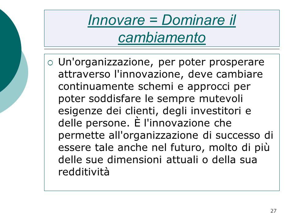 27 Innovare = Dominare il cambiamento Un'organizzazione, per poter prosperare attraverso l'innovazione, deve cambiare continuamente schemi e approcci