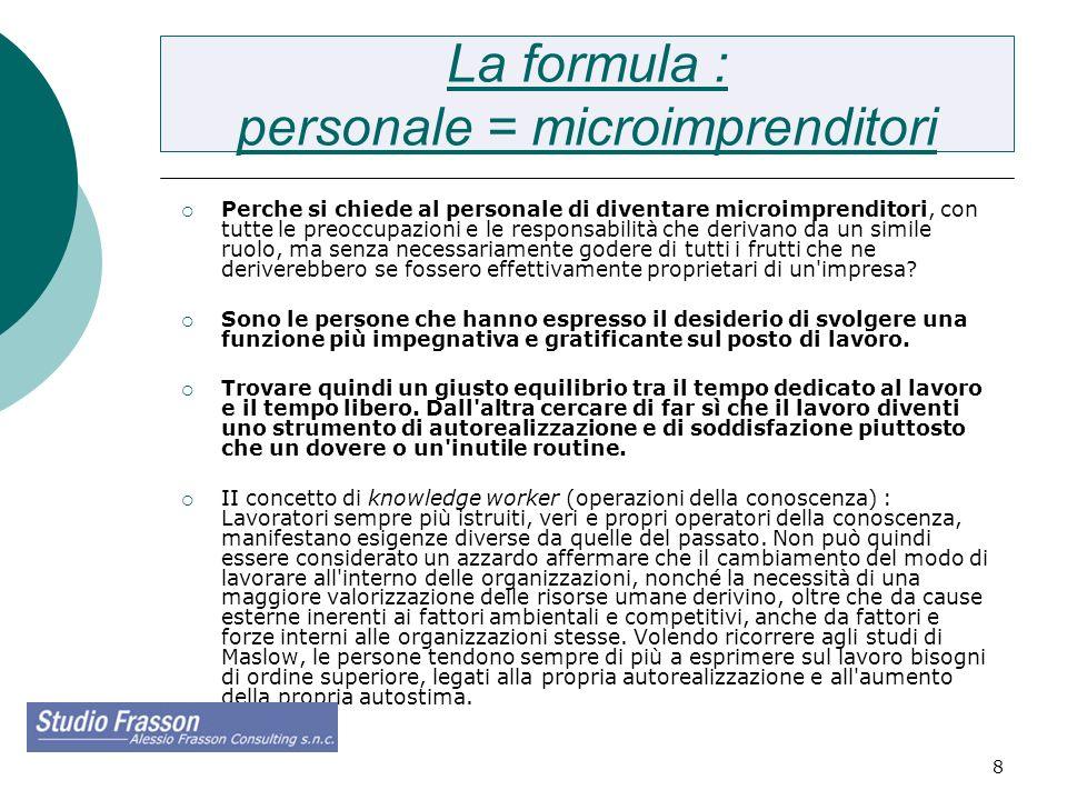 8 La formula : personale = microimprenditori Perche si chiede al personale di diventare microimprenditori, con tutte le preoccupazioni e le responsabi