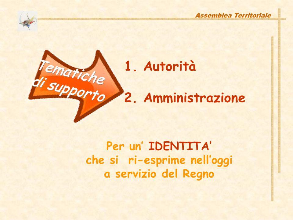 1. Autorità 2. Amministrazione Per un IDENTITA che si ri-esprime nelloggi a servizio del Regno