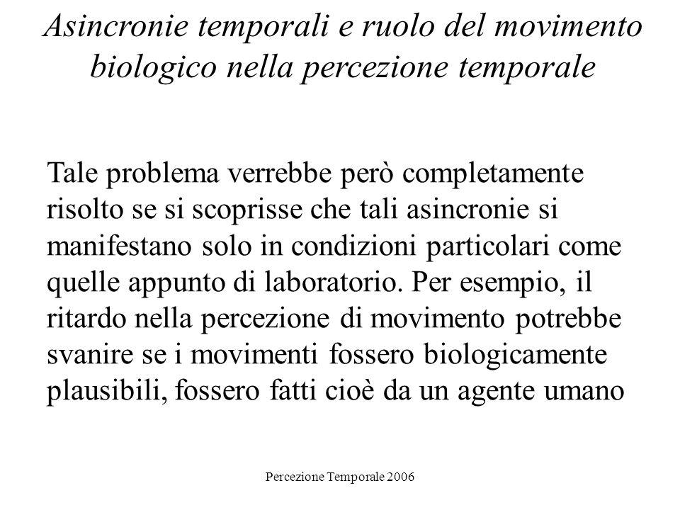 Percezione Temporale 2006 Asincronie temporali e ruolo del movimento biologico nella percezione temporale Tale problema verrebbe però completamente ri