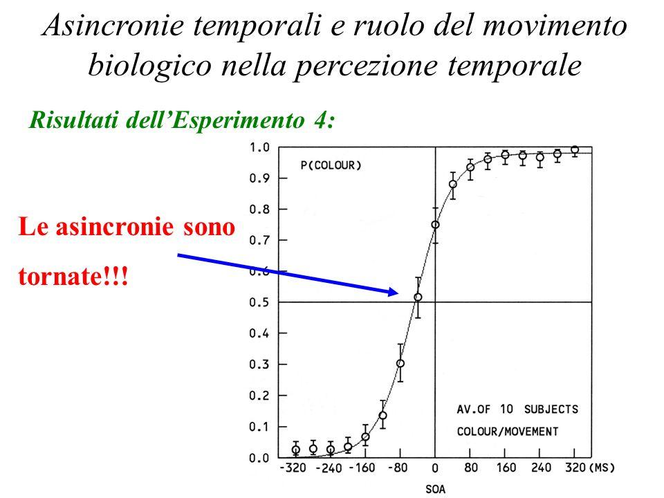 Percezione Temporale 2006 Asincronie temporali e ruolo del movimento biologico nella percezione temporale Risultati dellEsperimento 4: Le asincronie s