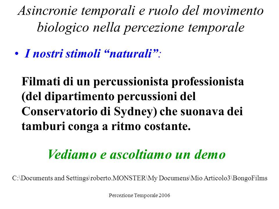 Percezione Temporale 2006 Asincronie temporali e ruolo del movimento biologico nella percezione temporale I nostri stimoli naturali: Filmati di un per