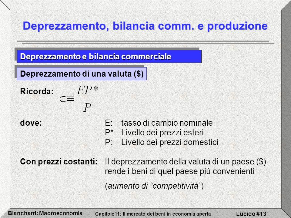 Capitolo11: Il mercato dei beni in economia aperta Blanchard: Macroeconomia Lucido #13 Deprezzamento, bilancia comm.