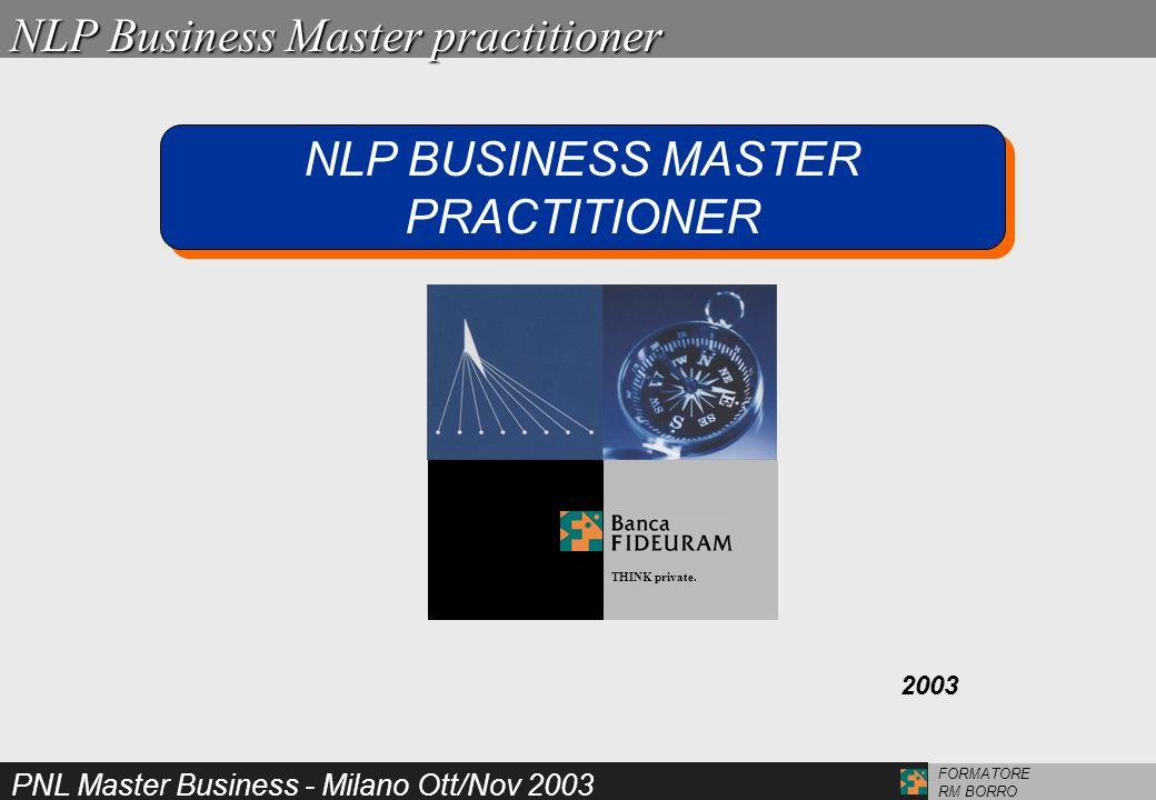 PNL Master Business - Milano Ott/Nov 2003 FORMATORE RM BORROAbilità MASTER SUBMODALITA TIME LINE MILTON MODEL METAPROGRAMMI STATI E ANCORETRANCE E IPNOSI STRATEGIE E RISTRUTTURAZIONI TECNICHE LINGUISTICHE