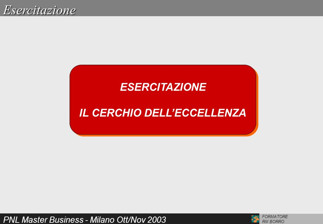 PNL Master Business - Milano Ott/Nov 2003 FORMATORE RM BORRO ESERCITAZIONE IL CERCHIO DELLECCELLENZA ESERCITAZIONE IL CERCHIO DELLECCELLENZAEsercitazi