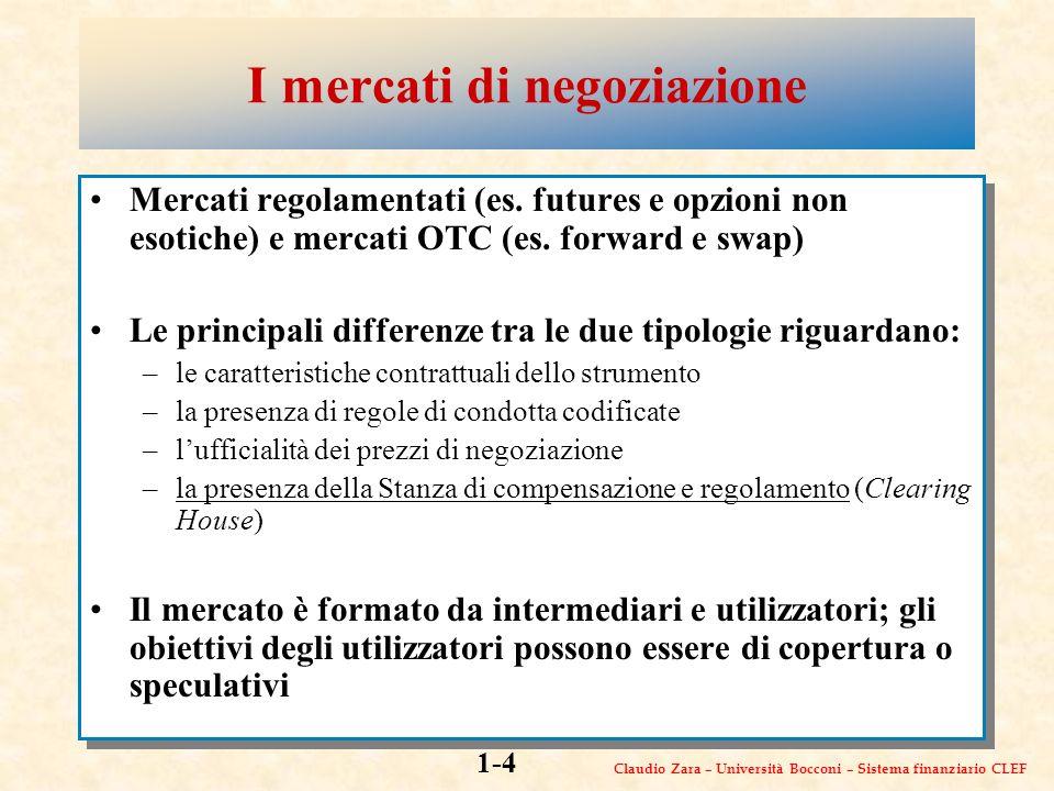 Claudio Zara – Università Bocconi – Sistema finanziario CLEF 1-4 I mercati di negoziazione Mercati regolamentati (es.