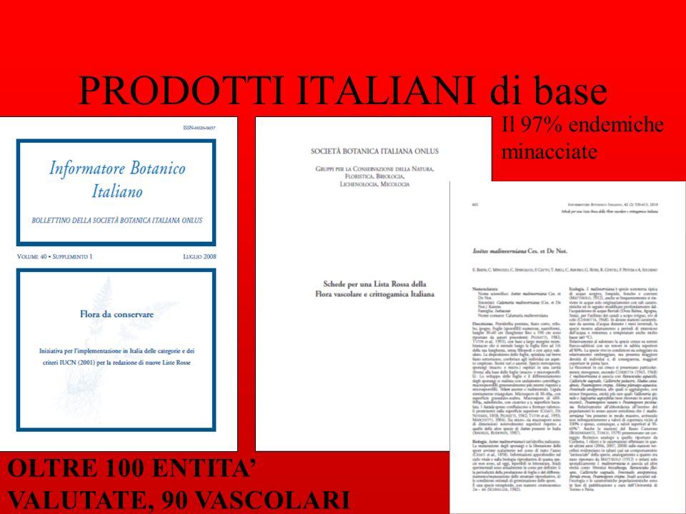 PRODOTTI ITALIANI di base OLTRE 100 ENTITA VALUTATE, 90 VASCOLARI Il 97% endemiche minacciate