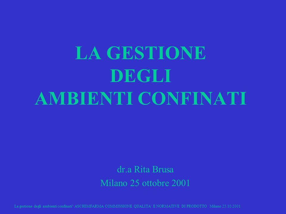La gestione degli ambienti confinati ASCHIMFARMA COMMISSIONE QUALITA E NORMATIVE DI PRODOTTO Milano 25.10.2001 1 LA GESTIONE DEGLI AMBIENTI CONFINATI dr.a Rita Brusa Milano 25 ottobre 2001