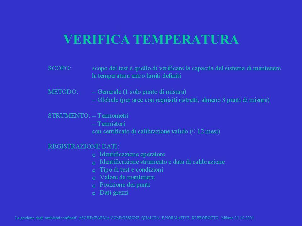 La gestione degli ambienti confinati ASCHIMFARMA COMMISSIONE QUALITA E NORMATIVE DI PRODOTTO Milano 25.10.2001 32 VERIFICA TEMPERATURA