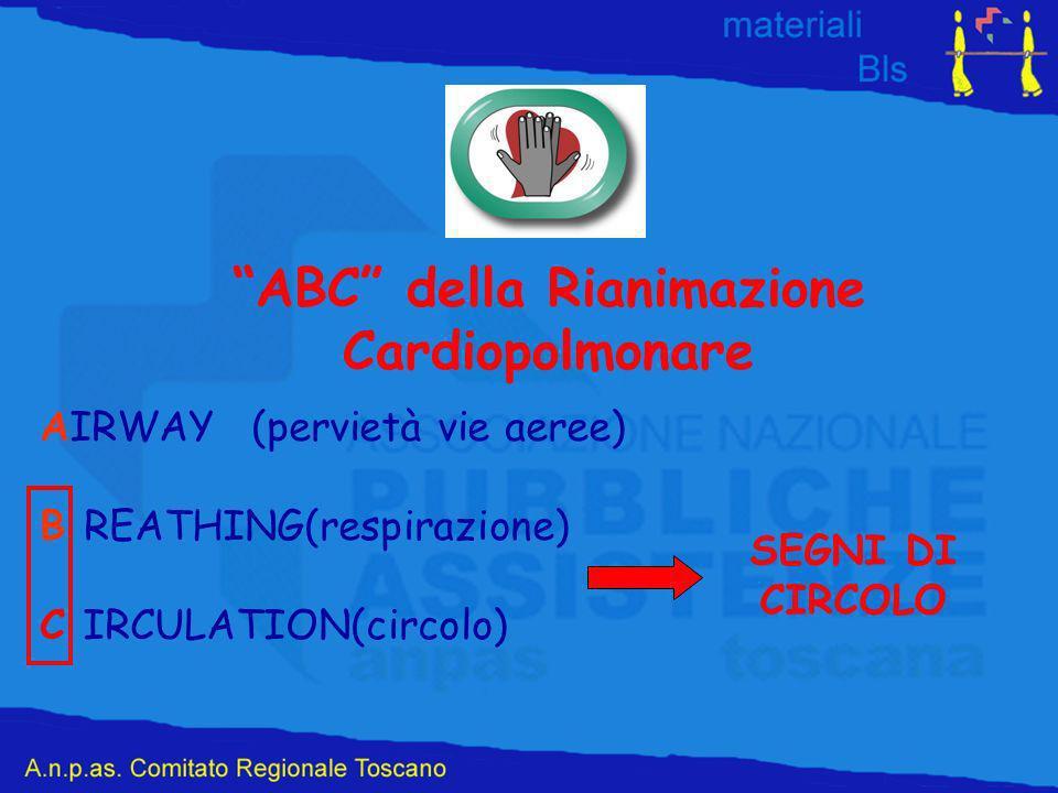ABC della Rianimazione Cardiopolmonare AIRWAY(pervietà vie aeree) B REATHING(respirazione) C IRCULATION(circolo) SEGNI DI CIRCOLO