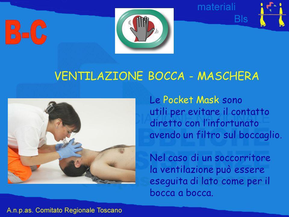VENTILAZIONE BOCCA - MASCHERA Le Pocket Mask sono utili per evitare il contatto diretto con linfortunato avendo un filtro sul boccaglio.