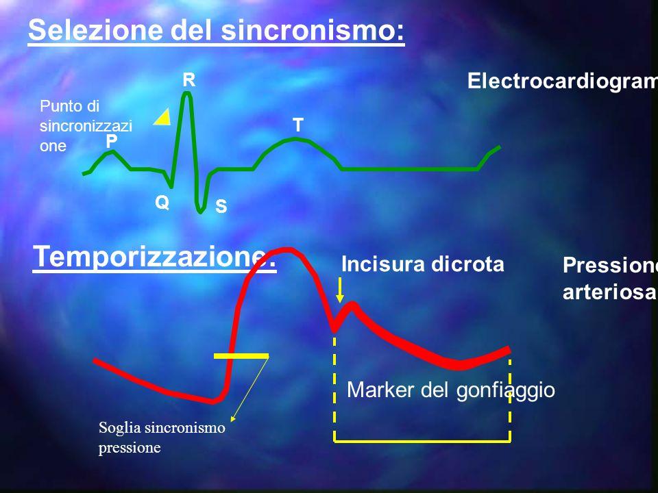 SINCRONISMI n Sincronismi utilizzabili: ¤ ECG ¤ Pressione ¤ Stimolatore atriale ¤ Stimolatore V/AV ¤ Sincronismo interno
