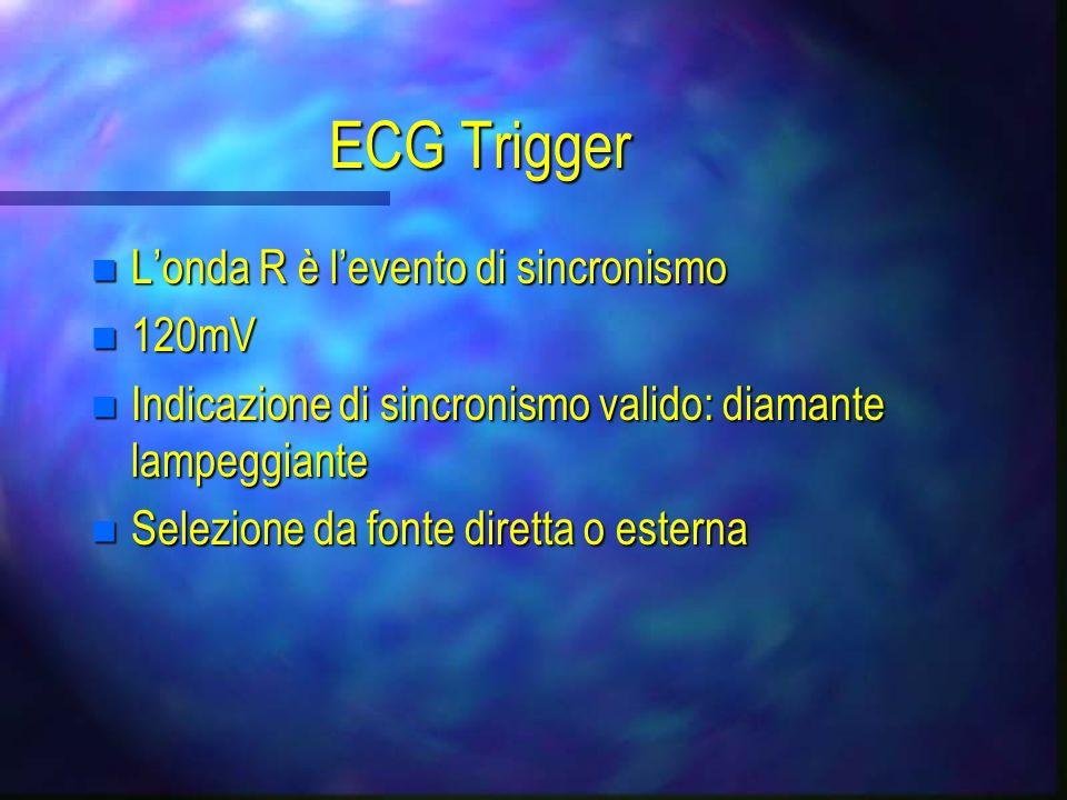 Selezione del sincronismo: R P Q S T Electrocardiogramma Punto di sincronizzazi one Temporizzazione: Pressione arteriosa Incisura dicrota Marker del g