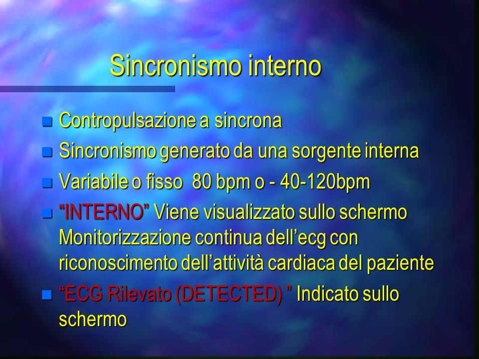 Sincronismo stimolatore V/A-V n Limpulso ventricolare è levento di sincronismo n stimolazione al 100% n A-V pace: 80-224 msecs <125bpm n V pace: < 185