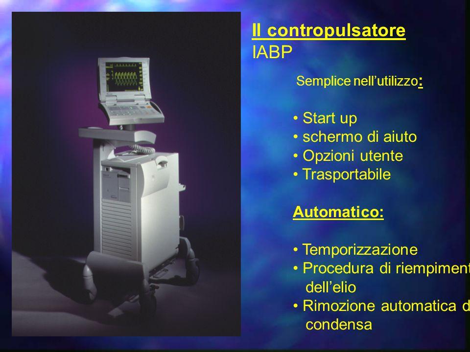 Il contropulsatore IABP Semplice nellutilizzo : Start up schermo di aiuto Opzioni utente Trasportabile Automatico: Temporizzazione Procedura di riempimento dellelio Rimozione automatica della condensa