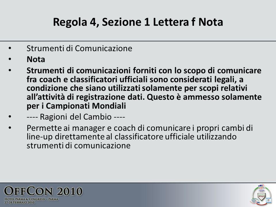 Regola 4, Sezione 1 Lettera f Nota Strumenti di Comunicazione Nota Strumenti di comunicazioni forniti con lo scopo di comunicare fra coach e classificatori ufficiali sono considerati legali, a condizione che siano utilizzati solamente per scopi relativi allattività di registrazione dati.