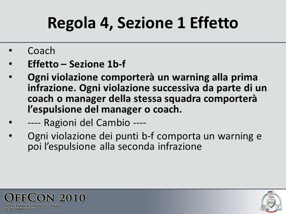 Regola 4, Sezione 1 Effetto Coach Effetto – Sezione 1b-f Ogni violazione comporterà un warning alla prima infrazione.