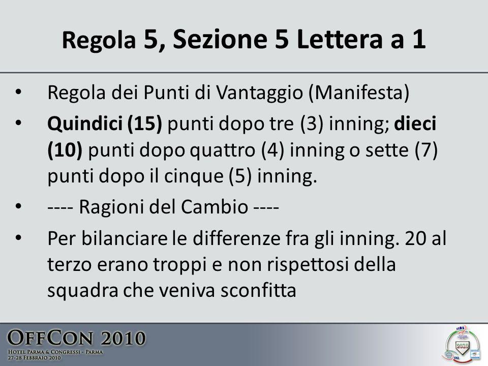 Regola 5, Sezione 5 Lettera a 1 Regola dei Punti di Vantaggio (Manifesta) Quindici (15) punti dopo tre (3) inning; dieci (10) punti dopo quattro (4) inning o sette (7) punti dopo il cinque (5) inning.