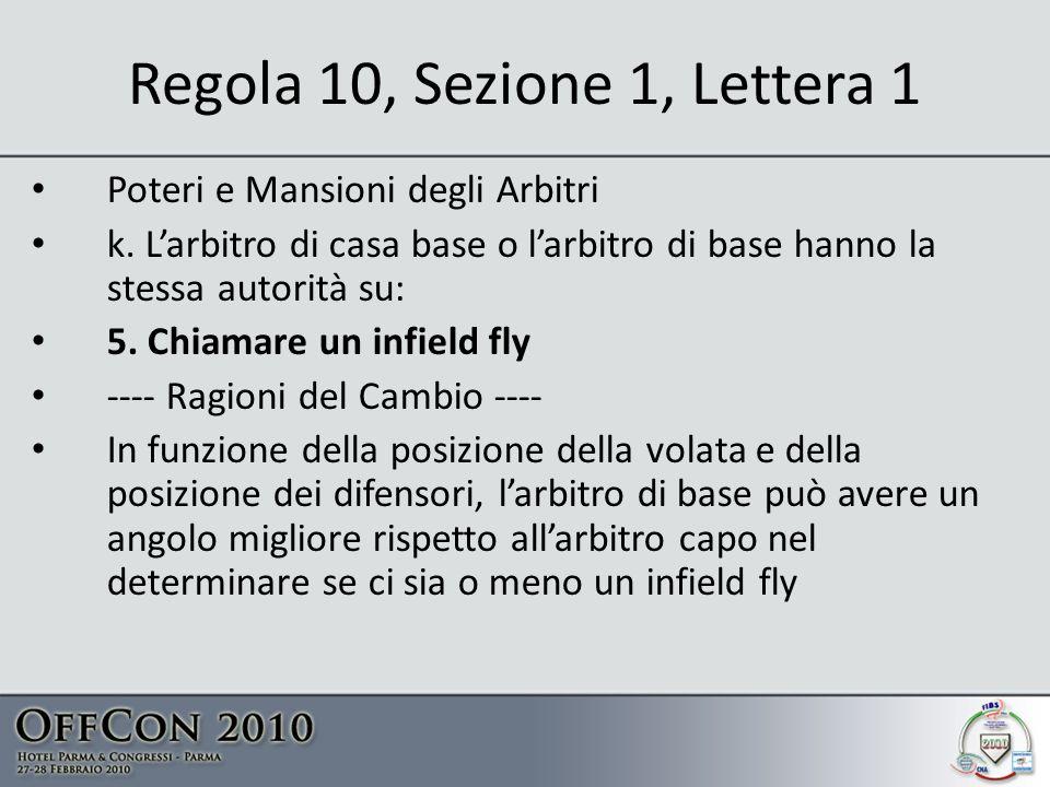 Regola 10, Sezione 1, Lettera 1 Poteri e Mansioni degli Arbitri k.
