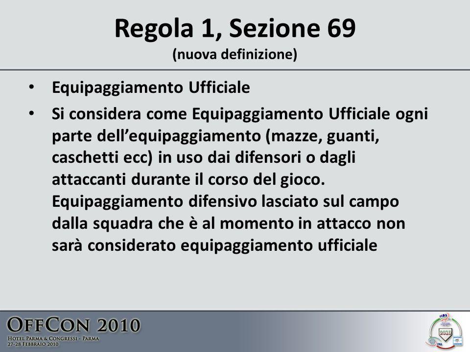 Regola 1, Sezione 69 (nuova definizione) Equipaggiamento Ufficiale Si considera come Equipaggiamento Ufficiale ogni parte dellequipaggiamento (mazze, guanti, caschetti ecc) in uso dai difensori o dagli attaccanti durante il corso del gioco.
