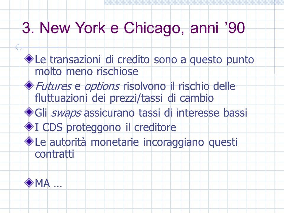 3. New York e Chicago, anni 90 Le transazioni di credito sono a questo punto molto meno rischiose Futures e options risolvono il rischio delle fluttua