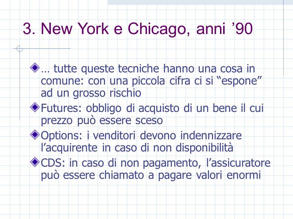 3. New York e Chicago, anni 90 … tutte queste tecniche hanno una cosa in comune: con una piccola cifra ci si espone ad un grosso rischio Futures: obbl