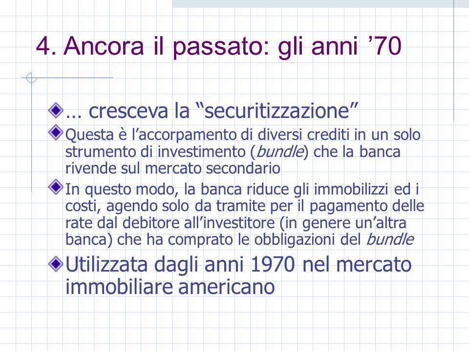 4. Ancora il passato: gli anni 70 … cresceva la securitizzazione Questa è laccorpamento di diversi crediti in un solo strumento di investimento (bundl