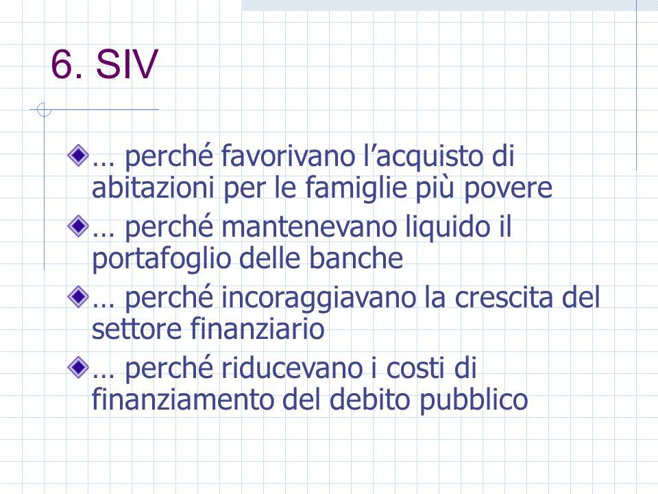 6. SIV … perché favorivano lacquisto di abitazioni per le famiglie più povere … perché mantenevano liquido il portafoglio delle banche … perché incora